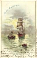 1899 Sailing ship litho, 1899 Vitorlás hajó litho