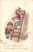 'Anna & Gasparini' Italian art postcar, children, ladder, humour s: Martelli, 'Anna & Gasparini' Olasz művészlap, gyerekek, létra, humor s: Martelli