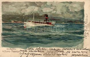 Fiume, Scirocco, steamship litho s: Raoul Frank