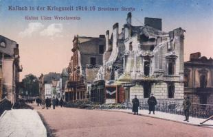1914-16 Kalisz, WWI, Ulica Wroclawska / destroyed street, restaurant