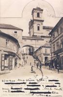 Litomerice, Leitmeritz; Brückenstiege / bridge stairs, shops of Josef Perlik and F. Beran
