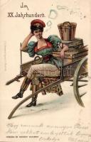 1899 Im XX. Jahrhundert / In the XXth century, female express postman 'Szénásy és Reimann' litho, 1899 A XX. században, Expressz postás hölgy 'Szénásy és Reimann' litho
