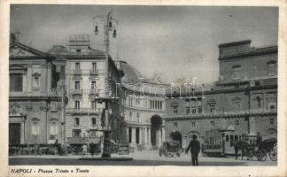 Naples, Napoli; Piazza Trieste e Trento / squares, tram, automobiles