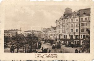 Lviv, Lwów, Lemberg; Plac Maryacki, St. Wagner A. / square, shops, tram