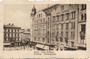 Lviv, Lwów, Lemberg; Ulica Walowa, Bank Lwowski / street, bank, shops