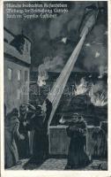 Liege, Lüttich; Monks, bombardment, Zeppelin, artist signed, Liege, szerzetesek, bombázás, Zeppelin, szignózott