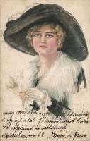 Lady with hat and gloves 'American girl No. 53.' s: Pearle Fidler Le Munyan, Kalapos hölgy kesztyűvel 'American girl No. 53.' s: Pearle Fidler Le Munyan