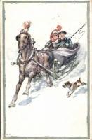 Horse drawn sleigh s: Adolf Petricek, Lovas szán s: Adolf Petricek