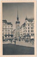 Brno, Brünn; Chrám sv. Jakuba, Hodinar, Advokat / cathedral, tram, watchmaker, shop of Adolf Jebavy, automobile, lawyer office of Gottwald A.