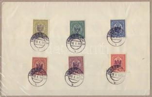 1918 Tirol helyi kiadás 15 klf bélyeg papírlapon Tiroli sas felülnyomással, bélyegezve