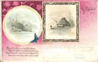 1899 Riverside hut, butterfly, Art Nouveau litho, 1899 Folyóparti kunyhó, pillangó Art Nouveau litho
