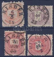 1874-1898 4 klf bélyeg, 2 klf KISBÉR bélyegzés