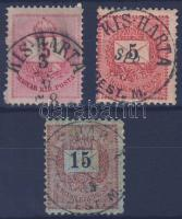 1874-1889 3 klf bélyeg KIS - HARTA PEST M.