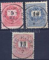 "3 different stamp ""KIS - KÖRE"", 3 klf bélyeg ""KIS - KÖRE"""