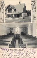 Przesieka, Hain im Riesengebirge; Evangelische Kapelle / chapel, interior, Art Nouveau. Verlag Paul Kriegel