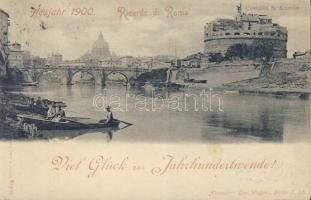 Rome, Roma; Castello S. Angelo / castle, boat, new year greeting card