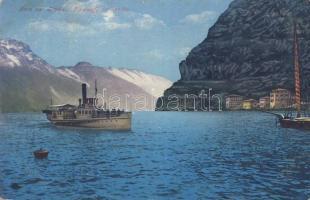 Lago di Garda, Lake Garda; Riva, Piroscafo / port, steamship