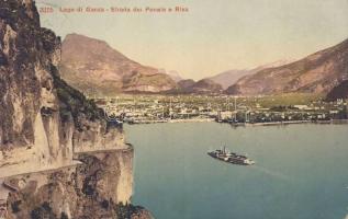Lago di Garda, Lake Garda; Strada del Ponale, Riva / road, port, steamship