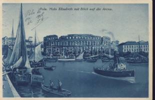 Pola, Molo Elisabeth, Arena / port, steamships, boats