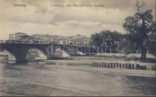 Skopje, Üsküp; Citadelle mit Werder und Brücke / Werder, bridge