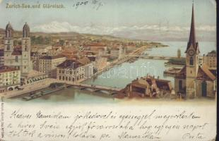 Zürich, See, Glärnisch, Carl Künzli No. 5014. litho