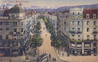 Zürich, Bahnhofstrasse, Hotel Terminus / street, tram, shops