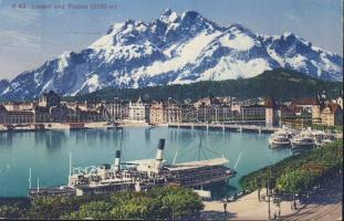 Lucerne, Luzern; Pilatus / mountain, port, steamship
