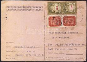 1946 (21. díjszabás) Távolsági levelezőlap 2 x 200 milpengő + 2 x 100 milliárd pengő bérmentesítéssel