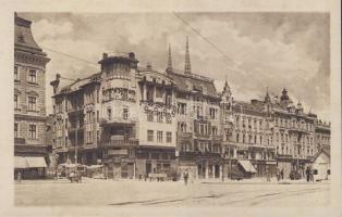Zagreb, Jelacicev trg. / square, shop of Anker, Rudovic and Orende, Berlitz school and bank