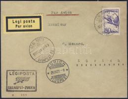 1927 Légi levél BUDAPEST - ZÜRICH légi irányító bélyegzővel / Airmail cover to Zürich