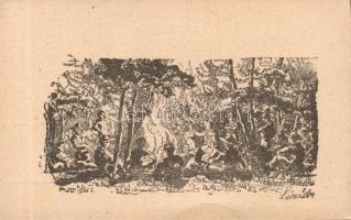 Scouts, camp fire 'no.91 Hatvani Turul scout group' III. s: Légrády Sándor, Cserkészek, tábortűz '91. sz. Hatvani Turul Cserkészcsapat' III. s: Légrády Sándor