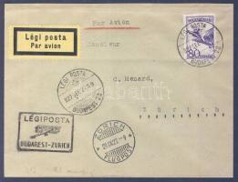 1927 Légi levél Svájcba BUDAPEST - ZURICH légi irányító bélyegzéssel
