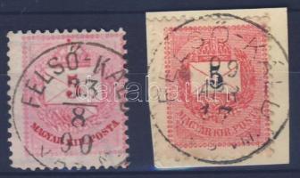 """2 different stamps """"FELSŐ-KÁLD VAS M."""" 2 klf bélyeg """"FELSŐ-KÁLD VAS M."""""""