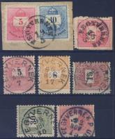 1874-1898 2 kivágás + 5 bélyeg 3 féle FEGYVERNEK bélyegzés