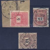 1889-1898 3 klf bélyeg FEHÉR-GYARMAT