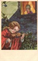 Baroque children couple, violin, Barokk gyerek pár, hegedű