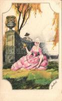 Italian art postcard, Romantic baroque couple 'Ultra No. 2133.' artist signed, Olasz művészlap, romantikus barokk pár 'Ultra No. 2133.' szignózott