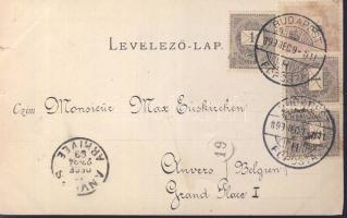 1899 Budapest képeslap 3 x 1kr + 2kr bérmentesítéssel Belgiumba
