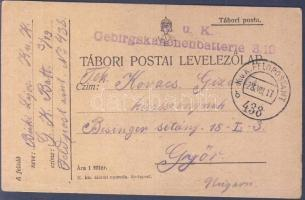 1917 Tábori lap K.u.K. Gebirgskanonenbatterie 3/10 + FD 438b - Győr