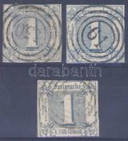 1859 3 x Mi 15 színárnyalatok