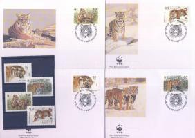 1993 WWF Szibériai tigris sor + 4 db FDC Mi 343-346