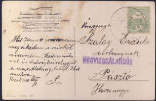 1910 Képeslap Recskről Pásztóra MEGVIZSGÁLANDÓ bélyegzéssel