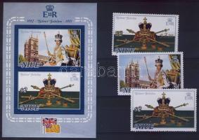 1977 II. Erzsébet uralkodásának 25. évfordulója Mi 171-172 + 188 + blokk 1