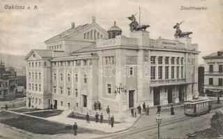 Jablonec nad Nisou, Gablonz an der Neisse; Stadttheater / theatre, tram