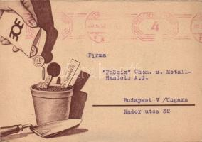 Otto Erwin Elsässer, Werbeberater in Stuttgart 'Eine Gärtner für Ihr Geschäft' / 'A gardener for your business' advertising consultant advertisement, humour, folding card, Otto Erwin Elsässer, reklám tanácsadó Stuttgartban 'Az ön vállalkozásának kertésze' humor, kinyitható lap