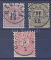 1889 15kr, 30kr + 1898 5kr BÁNFALVA