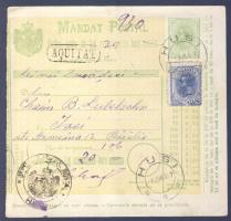 1907 Díjkiegészített díjjegyes pénzutalvány, hátoldalán 2 x 5B portóval / PS-money order with additional franking, 2 x 5B postage due stamps on the backside HUSI - JASSY