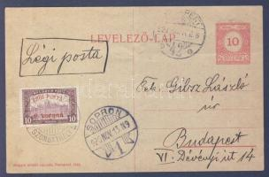 1920.11.13. (2. díjszabás) Légi levelezőlap / Airmail postcard SOPRON - SZOMBATHELY - BUDAPEST