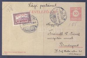 1920.11.17. (2. díjszabás) Légi levelezőlap / Airmail postcard SZOMBATHELY - BUDAPEST