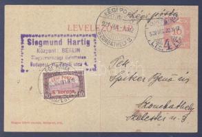 1921.01.01. (2. díjszabás) Légi levelezőlap / Airmail postcard BUDAPEST - SZOMBATHELY